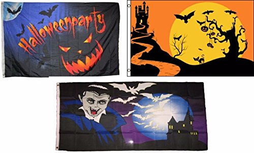 ALBATROS 3 ft x 5 ft Happy Halloween 3 Pack Flag Set #94 Combo Banner Grommets for Home and Parades, Official Party, All Weather Indoors Outdoors