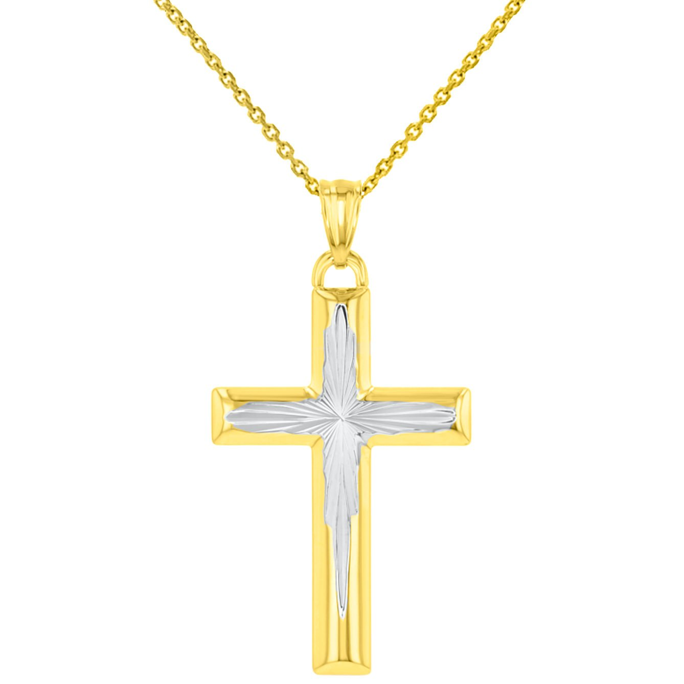 High Polished 14K Yellow Gold Textured Cross Pendant Necklace, 16''