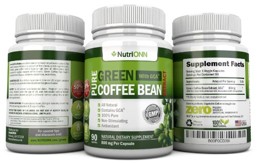 GREEN COFFEE BEAN EXTRACT with GCA, 800mg - 90 Vegetarian Capsules - Best Value For Price! - Highest Quality Pure Natural Coffee Extract for Weight Loss by NutriONN (Image #5)