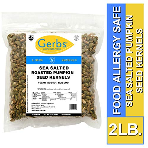 Sea Salted Pumpkin Seed Kernels, 2 LBS by Gerbs - Top 14 Food Allergy Free & NON GMO - Vegan & Kosher - Dry Roasted Premium Quality Seeds