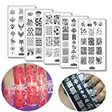 5pcs Love Heart Flowers Nail Art Stamp Template Valentine Nail Art Stamping Plate Geometric Pattern Manicure Image Plates Festival New Year Nails Stencil