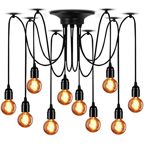 LMAPUNDIT 10-Light Chandelier, Adjustable DIY E26 Art Spider Pendant Lighting, Rustic Chandelier Each with 6.56ft Wire