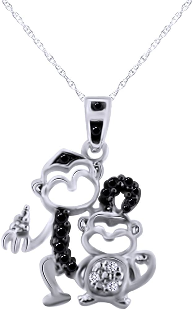 1//10 ct Diamond Monkey Charm in Sterling Silver /& 14K Gold