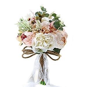 Bride Bridal Bridesmaid Hold Flower Rose Peony Dahlia Artificial Flowers Wedding Bouquet 29
