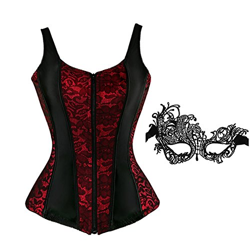 frawirshau Corsets for Women Overbust Corset Vest Bustier Lingeie Top Shapewear Red 4XL -