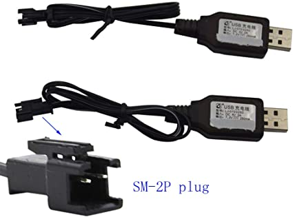 USB Charging Cable Batteries Pack SM Plug Adapter 7.2V 250mA Remote Control Toy