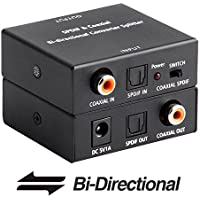 ROOFULL Optical Toslink to Coaxial and Digital Coax Coaxial to SPDIF Toslink Optical Digital Audio Converter, Bi-Directional SPDIF Coaxial and Toslink Optical Digital Audio Signal Repeater/ Switcher