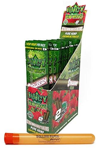 - Juicy Strawberry Fields Pure Hemp Wraps (25 Packs/Full Box) with Rolling Paper Depot XL Kewltube
