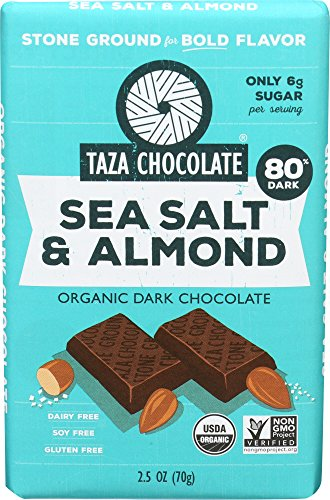 (Taza Chocolate | Amaze Bar | Sea Salt & Almond | 80% Stone Ground | Certified Organic | Non-GMO | 2.5 Ounce (1 Count))