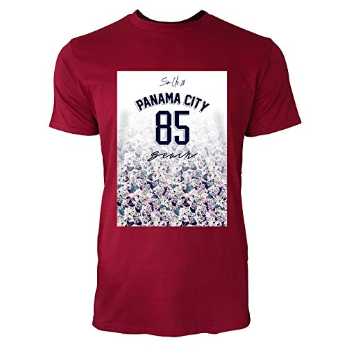 SINUS ART ® Floraler Print – Panama City 85 Beach Herren T-Shirts in Independence Rot Fun Shirt mit tollen Aufdruck