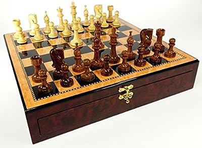 "HPL 4 Queens Sheesham LACQUERED Staunton Wood Russian Knight Chess Set W/ 17"" Dark Walnut & Maple Color Storage Board"
