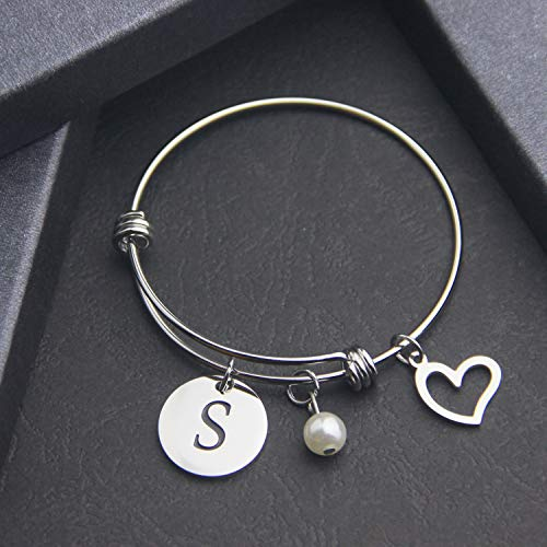 EIGSO Initial Bracelet Letter Bracelet with Heart Charm Memory Bracelet Jewelry Gift for her (BR-S) … by EIGSO (Image #2)