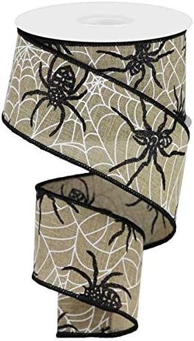 Light Beige, 2.5 10 Yards Spiders /& Webs Wired Edge Ribbon