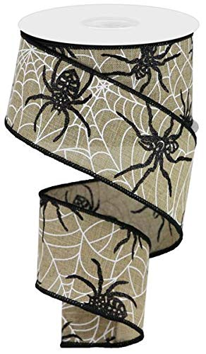 Spiders & Webs Wired Edge Ribbon, 10 Yards (Light Beige, 2.5