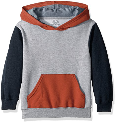 Fruit of the Loom Boys' Big Fleece Hoodie Sweatshirt, Athletic T.Blue Mason Orange Heather/Smoke Blue Stripe, Medium ()