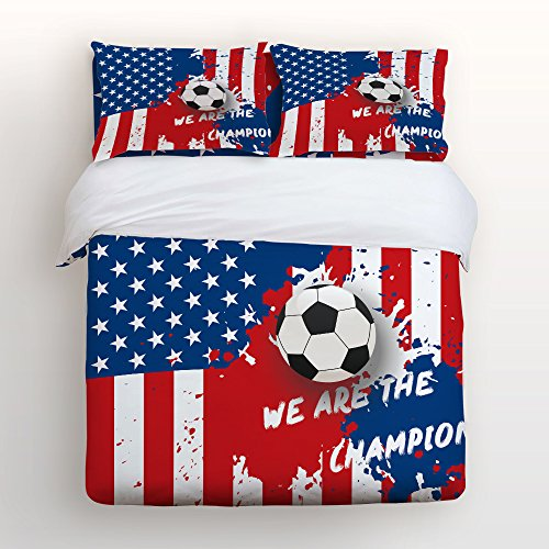 (4 Piece Home Comforter Bedding Set with Zipper World Cup Soccer Championship Usa Team We Are Champions Bed Covers Full Duvet Cover Bed Sheet Pillow Cases for Men Women Children Kids Adults Family)