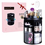 Makeup Cosmetic Organizer EMOCCI 360 Degree Rotating Adjustable Cosmetics Storage Box Case 7 Layers Large Capacity Make Up Holder Vanity Shelf Fits Bath Counter Bathroom Accessories(Black)