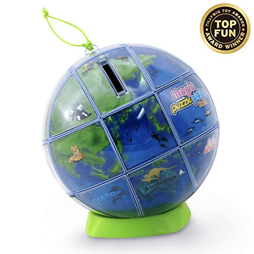 BEST LEARNING Magic Puzzle Globe - 3D Earth World Map Puzzles for Children Kids - Smart Educational Desk Toy Globes for Teens & Adults - Preschool Geography STEM Toys for Boys & Girls - 26 Pieces ()