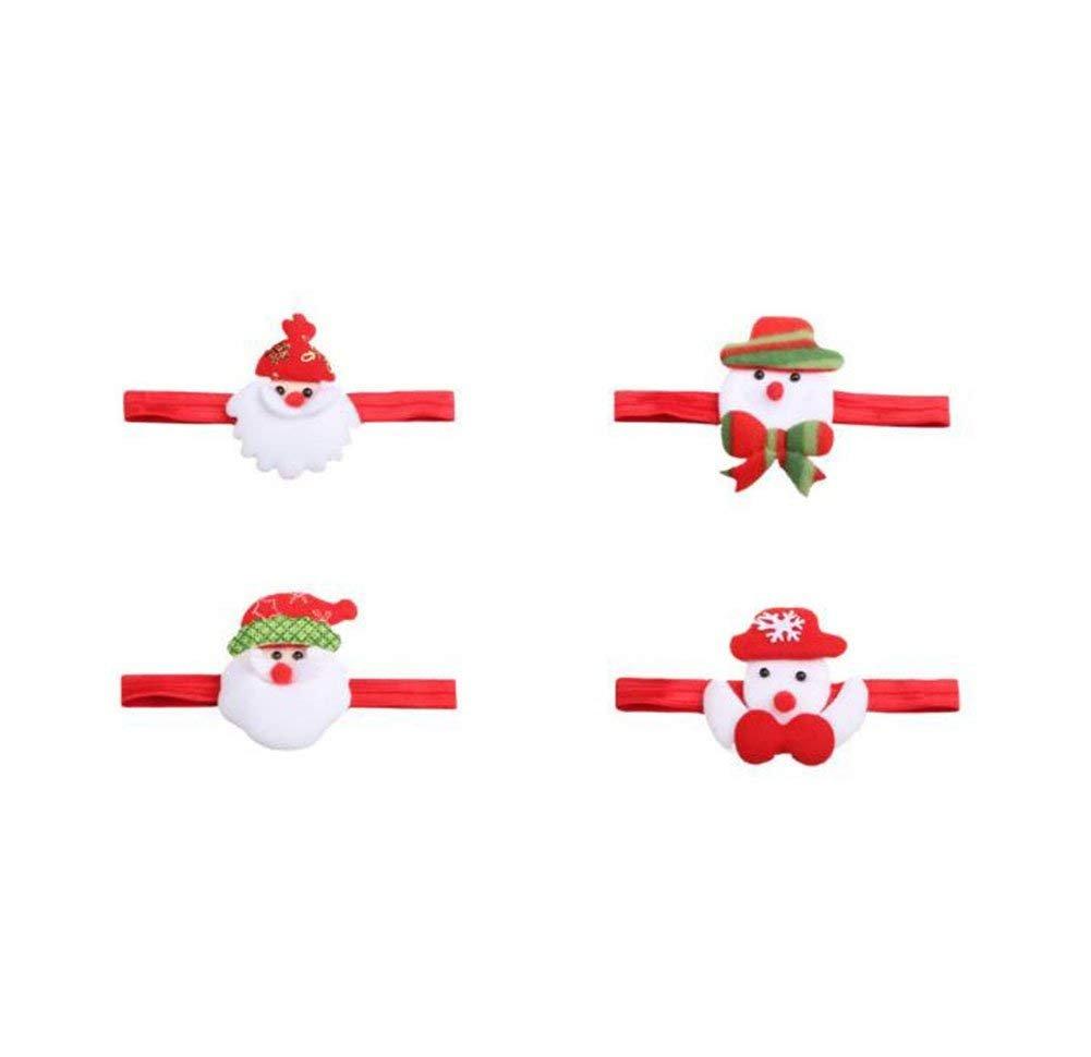 Demarkt 4X Weihnachten Baby Stirnband Haarband Kopfband Haarschleife 17x1.5cm
