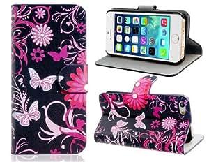 Flower & Butterfly Print imitación de cuero stand Funda protectora para el iPhone 5S / 5