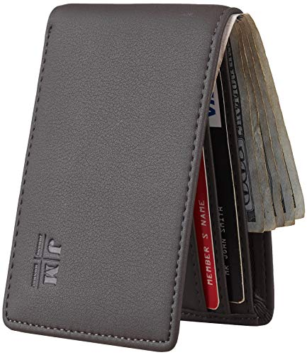 Joymon Mens Slim Minimalist Front Pocket Wallet Genuine Leather ID Window Card Case RFID Blocking(ReNapa Carbon Grey)