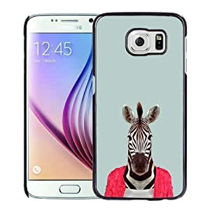NEW Unique Custom Designed Samsung Galaxy S6 Phone Case With Zebra Funny Animal Portrait_Black Phone Case