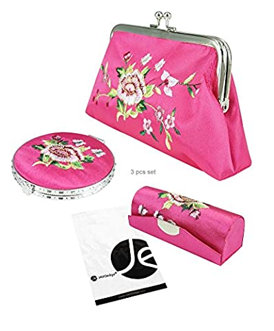 JAVOedge (3 PCS SET) Rose Embroidery Cosmetic (Lip Stick Case, Cosmetic Bag, and Mirror) Gift Box Set - Embroidery Box Set