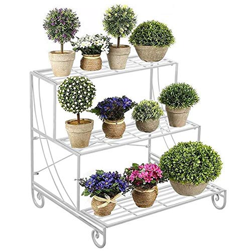 (Topeakmart 3 Tier Plant Stands Metal Flower Pot Holder Indoor/Outdoor Wrought Iron Plant Display Stand Multi Level Decorative Shelves White)