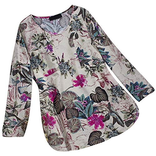 (JOFOW Blouses Womens Loose Boho Floral Flowers Print Pleated Cowl Crew O Neck 3/4 Long Sleeve Tops Vintage Retro Loose Shirts)