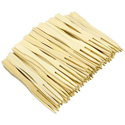 Hysagtek 400 Pcs Bamboo Party Forks Disposable Food Picks Two Prongs Fruit Cocktail Forks Blunt-end Forks for Home and Catering Party, 3.5 Inches