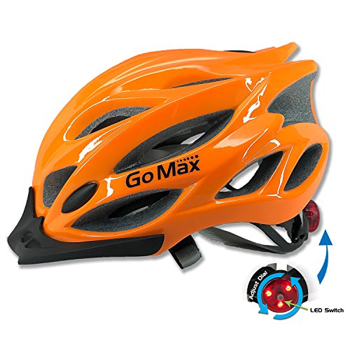 GoMax Aero Adult Safety Helmet Adjustable Road Cycling Mountain Bike Bicycle Helmet Ultralight Inner Padding Chin Protector and visor w/ Rear LED Tail Light adjust (Safety Orange With Led, (Bike Helmet Safety)