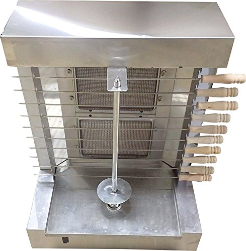 tor Doner Kebab Shawarma Gas Burner Grill - Vertical Broiler - Automatic 2 Burners Machine with 10 side Kebab Skewers - 2, 3 and 4 Burners Propane Gas option (2 Burners) (Gas Grill Rotisserie)