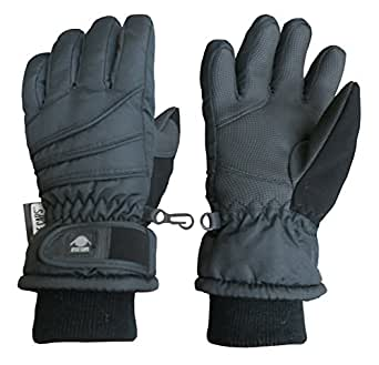 N'Ice Caps Kids Bulky Thinsulate Waterproof Winter Snow Ski Glove With Ridges (Black 1, 3-4yrs)
