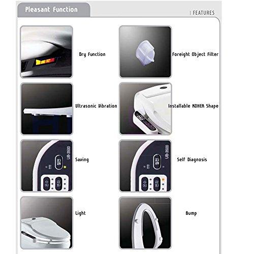 outlet Inus Uspa UB-3500 Toilet Bidet Toilet Seat 220V Heated Seat Metal Coating 2 Nozzles, Ultrasonic Vibration, Dry & Light Function,