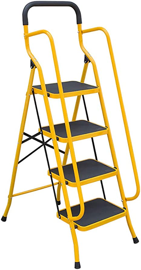 MILECN Escalera portátil Antideslizante de 4 peldaños, con Pedal Ancho y pasamanos Resistentes, Taburete Plegable de Seguridad de Acero para Oficina de Mercado doméstico,Amarillo: Amazon.es: Deportes y aire libre