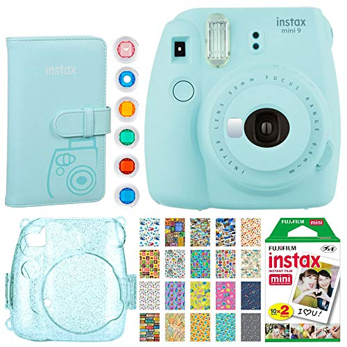 Fujifilm Instax Mini 9 Instant Camera (Ice Blue) + Fujifilm Instax Mini Instant Film (20 Shots) + Glitter Hard Case + Fujifilm Wallet Album + Colored Lens Filters + 20 Sticker Frames Travel Package