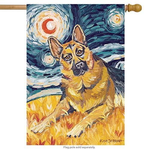 (Toland Home Garden Van Growl German Shepard 28 x 40 Inch Decorative Puppy Dog Portrait Starry Night House)