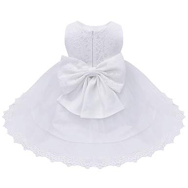 2d700674696f0 freebily Bébé Fille Lace Robe de Baptême Robe de Mariage Dentelle Tulle  Florale Noeud Papillon Robes