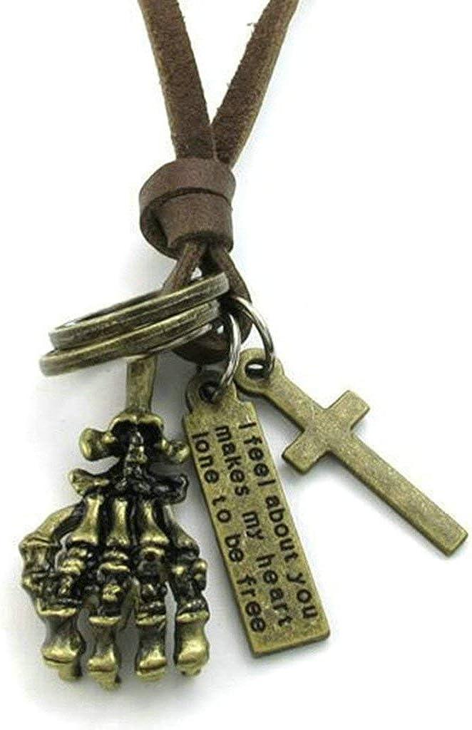 LOPEZ KENT Stainless Steel Necklaces Men Women Necklaces Retro Skull Claw Necklace Cross Pendant 1838MM