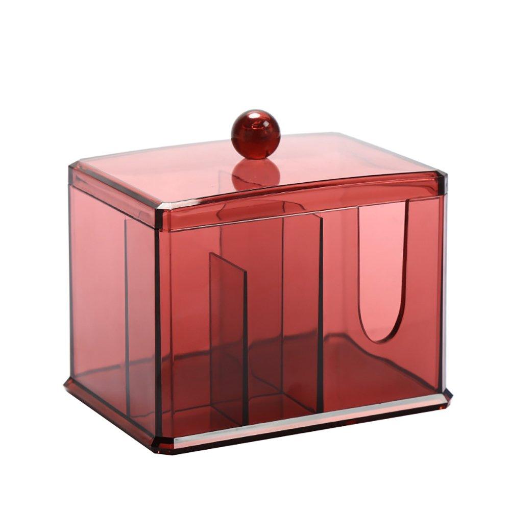 JUNGEN Cuatro cuadrícula Recinto de almacenamiento con tapas para bastoncillos de algodón Acrílico almohadillas de algodón Organizador Caja de almacenamiento de cosméticos, Rojo