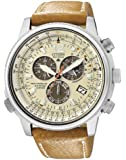 Citizen - AS4020-44B - Montre Homme - Quartz - Chronographe - Solaire-Alarme-Radio-Chronomètre - Bracelet cuir Marron