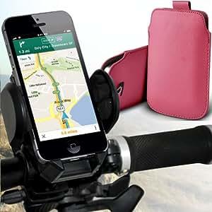 Nokia Lumia 710 premium protección PU ficha de extracción Slip In Pouch Pocket Cordón Piel Con universal de bicicletas Bike Mount Holder Soporte horquilla del soporte del manillar de soporte 360 ??grados de rotación Baby Pink por Spyrox