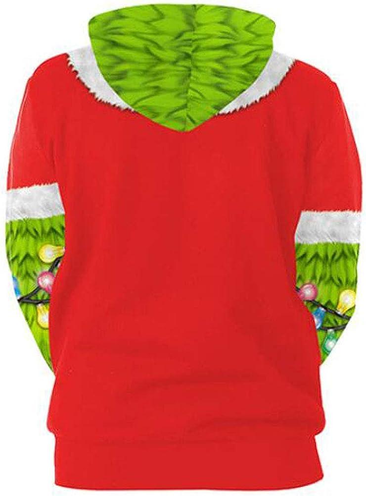 Donna Felpa con Cappuccio Natale Maniche Lunghe Felpe Stampa Stampato Cervo Neve Babbo Natale Pullover Sportive Sweatshirt Camicia