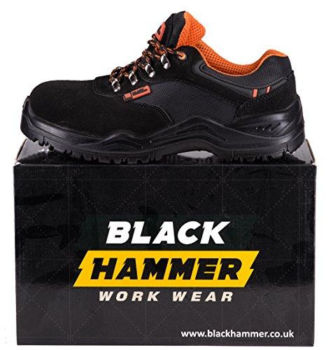 Herren Sicherheitsschuhe leicht Verbundstoffkappe und Kevlar-Zwischensohle Arbeitsschuhe knöchelhoch Wanderschuhe 1557 Black Hammer Schwarz