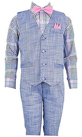 Vittorino Boy's Linen Look 4 Piece Suit Set with Vest Pants Shirt and Tie,Blue Vest--multicolor Shirt--pink Bowtie,2T