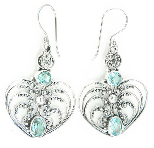 184 Coeur Deesse Bleue earrings Organic / Silver Jewelry of Bali