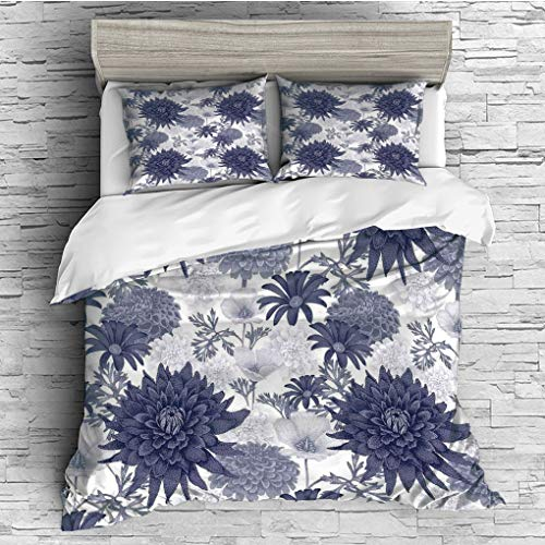 Duvet Cover Set/Dahlia Flower Decor,Dotted Digital Paint of Dahlias Botanical Curved Rolled Wild Ray Blunts,Blue White / 3 Piece Bedding Set ()