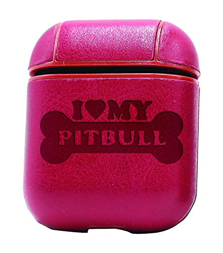 (I Love My Pitbull (Vintage Pink) Air Pods Protective Leather Case Cover - a New Class of Luxury to Your AirPods - Premium PU Leather and Handmade exquisitely by Master Craftsmen)