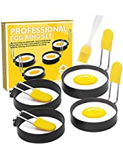 Stainless Steel Egg Ring Set - Nonstick Fried Egg Cooker Mold with Silicone Handle Non Stick Coating Breakfast Tool for Eggs Frying/Shaping - 4 Pack (Oil Brush Included)