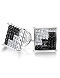 Bling Jewelry 925 Sterling Silver Dual Color CZ Micropave Mens Earrings